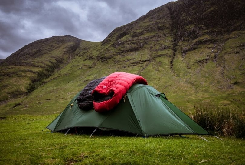 Sleeping bags on tent