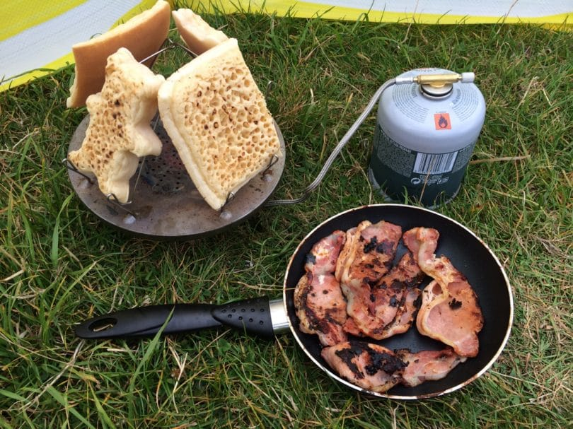 Camping cooking breakfast