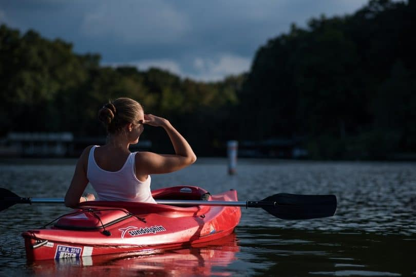 Young woman in a kayak