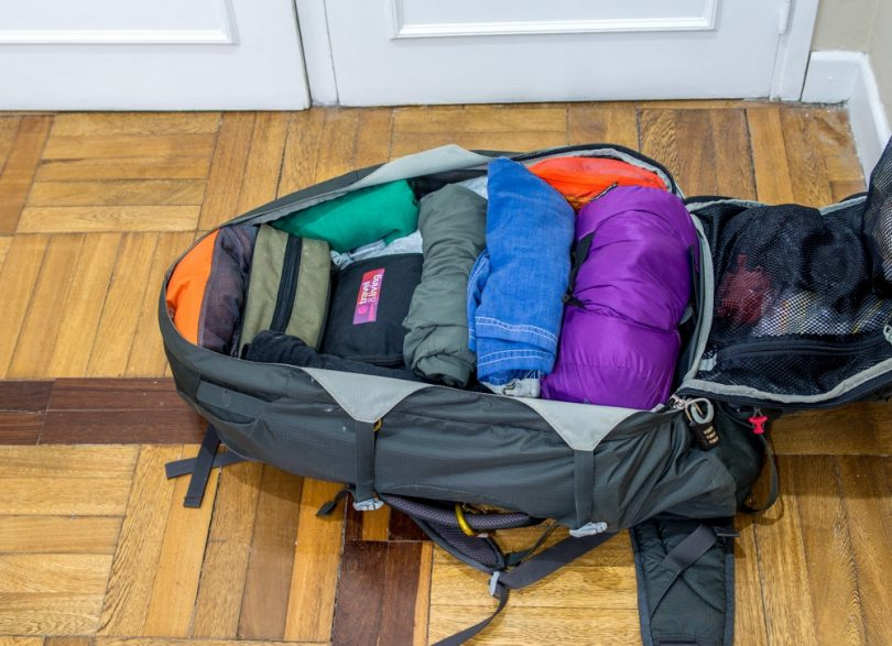 Pack clothes in a backpack