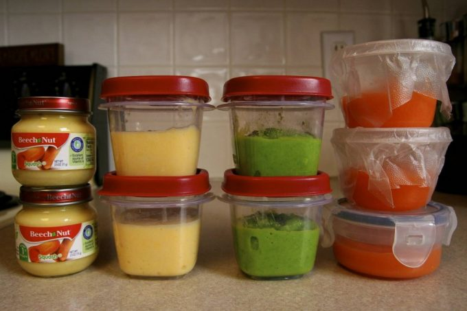 Containers of homemade baby food