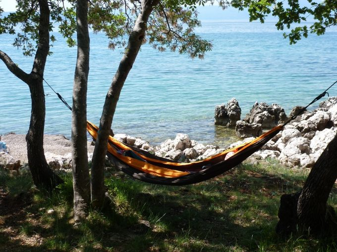 Empty hammock near sea