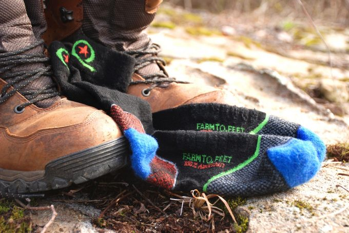 Hiker changing his socks