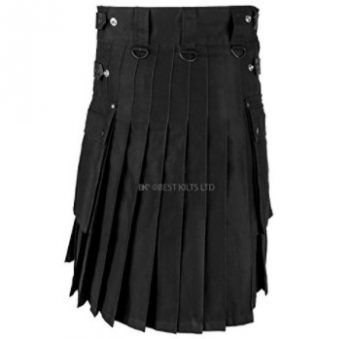 Men Black Leather Straps Fashion Sport Utility Kilt