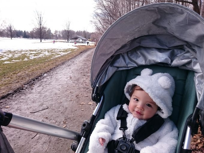 baby in hiking stroller