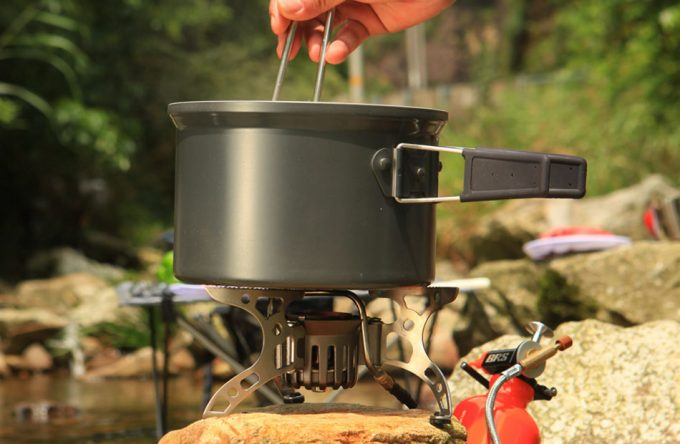 cooking on portable stove