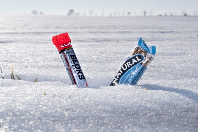 energy bars in the snow