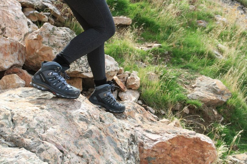Person hiking with GTH shoes