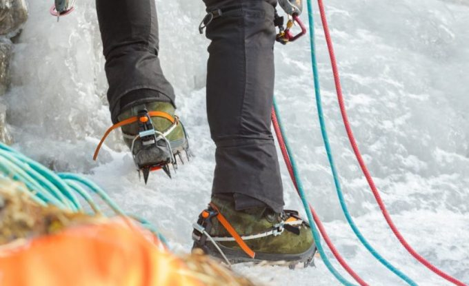 ice climbing with mountaineering boots