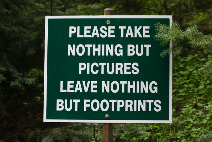leave nothing but footprints sign