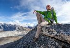 man hiking in convertable pants
