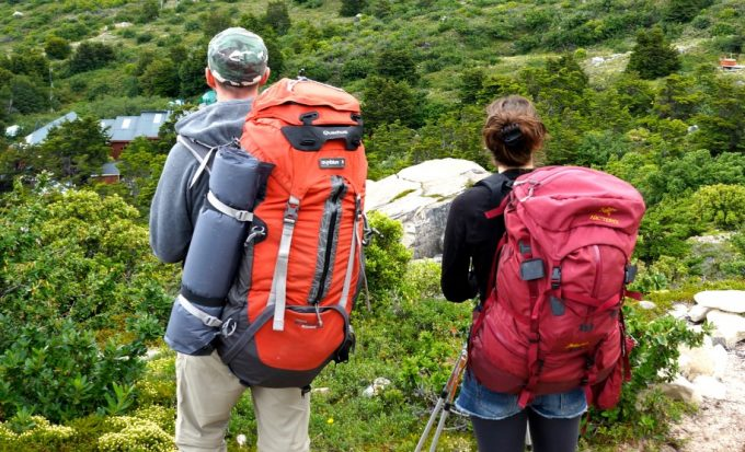 two hikers with hiking backpacks