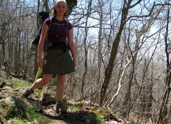 woman hiking in hiking skirt