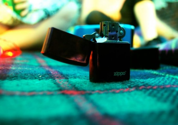 zippo lighter on a blanket