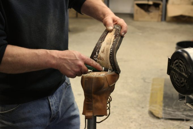 remove the existing damaged soles