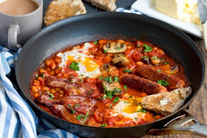 One-pan english breakfast with dippy eggs