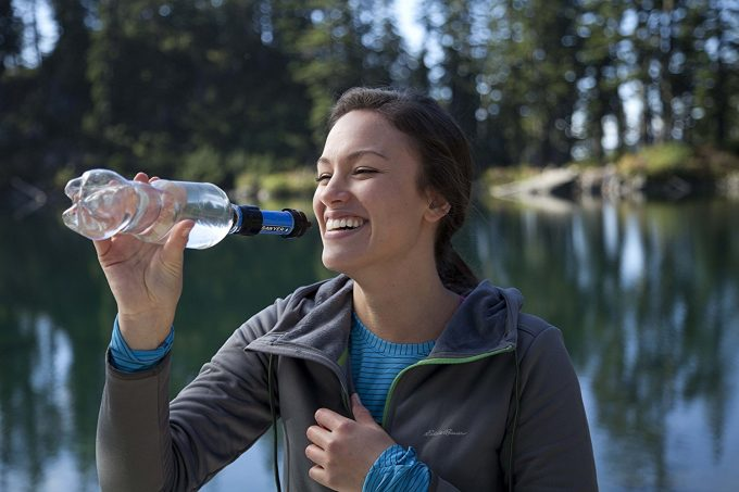 Sawyer water filter attached to a water bottle