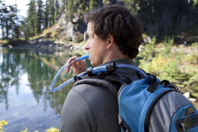Sawyer water filter installed on hydration backpack