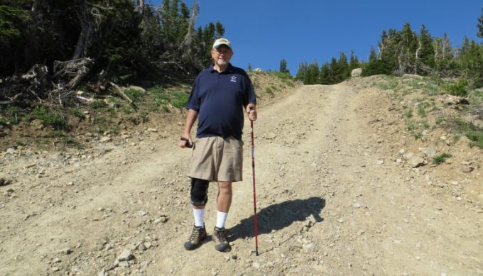 hiking with light knee brace