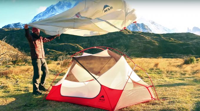 Setting up tent in howling wind