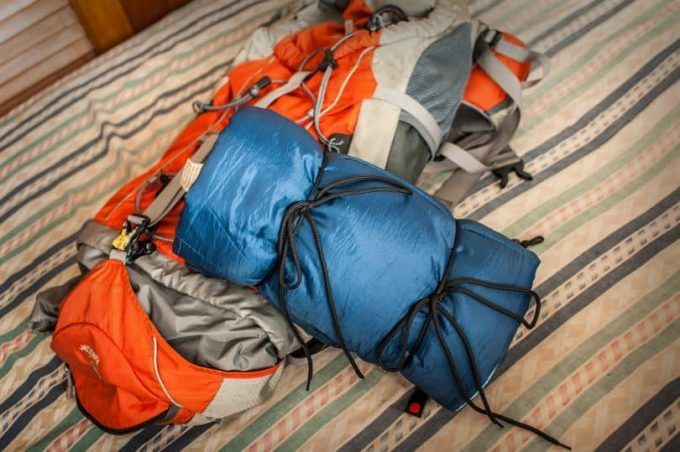 Sleeping bag in a tent