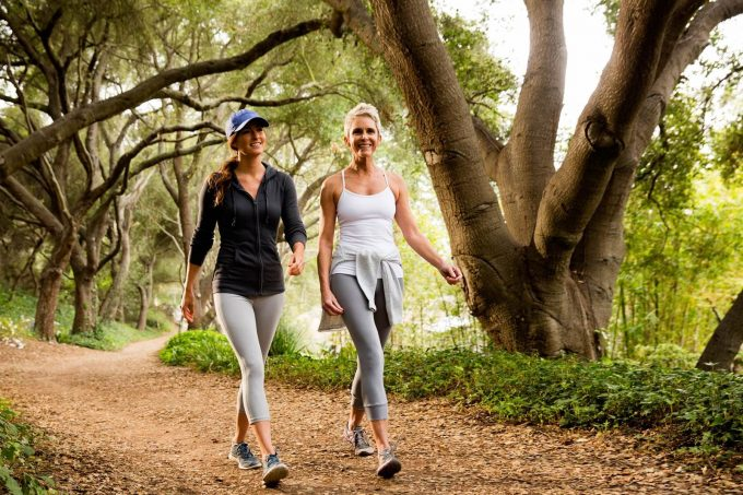 Two woman outdoor walk