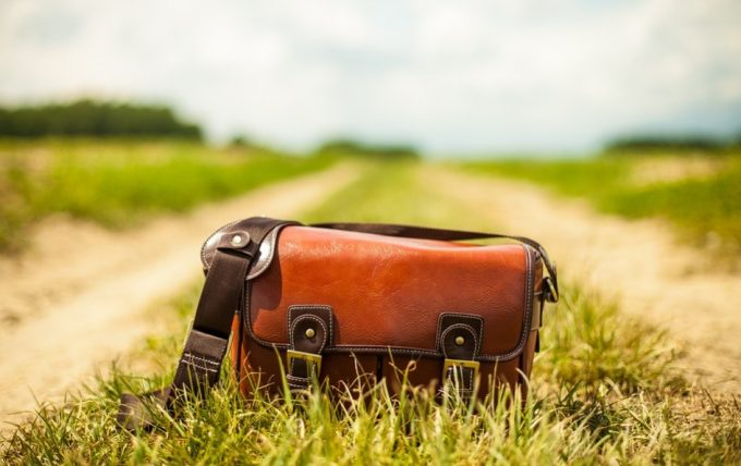 binoculars bag on grass path