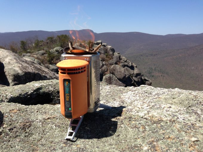 biolite stove on rock