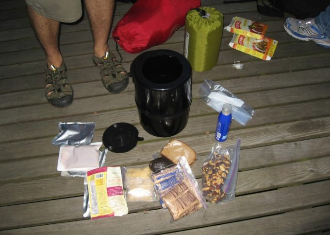 camping gear and bear canister