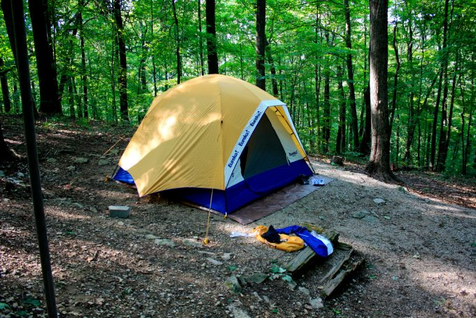 camping nylon tent in the woods