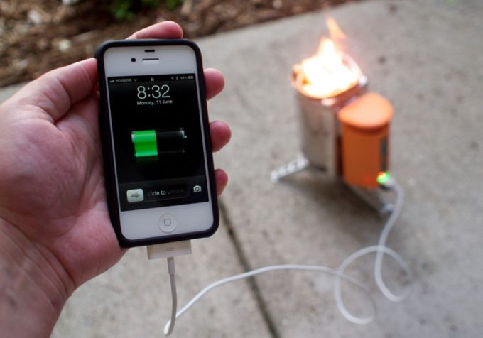 charging iPhone on biolite stove