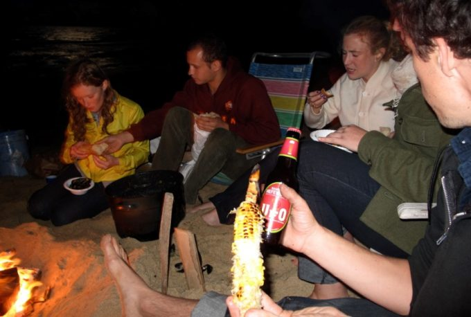 eating near campfire