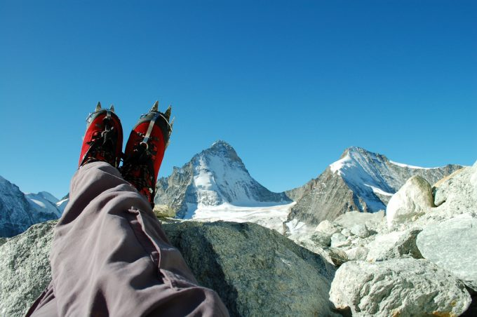 enjoying the view with mountaineering boots on