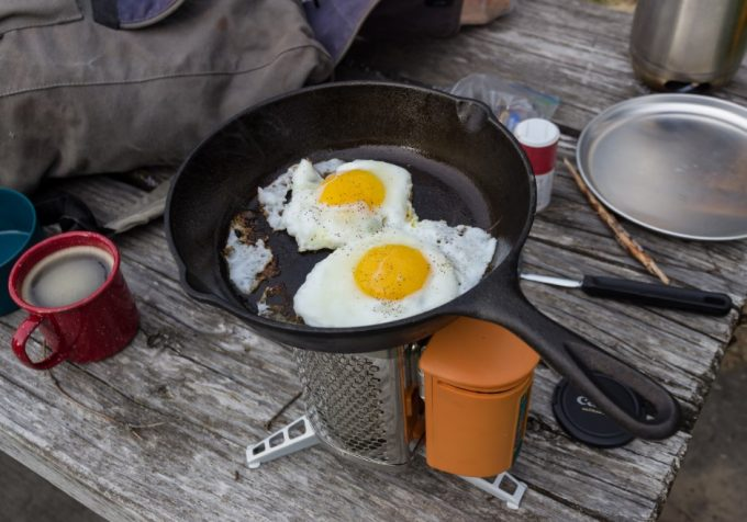 frying eggs on biolite stove