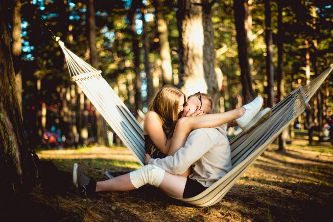happy couple in hammock