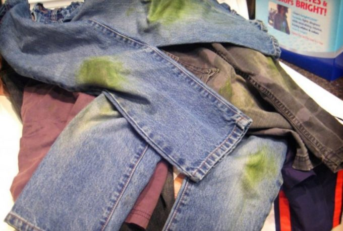 jeans with grass stains