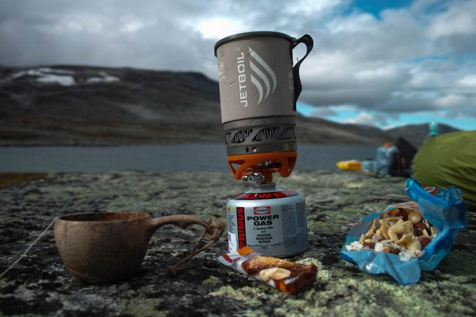 jetboil sol near food on ground
