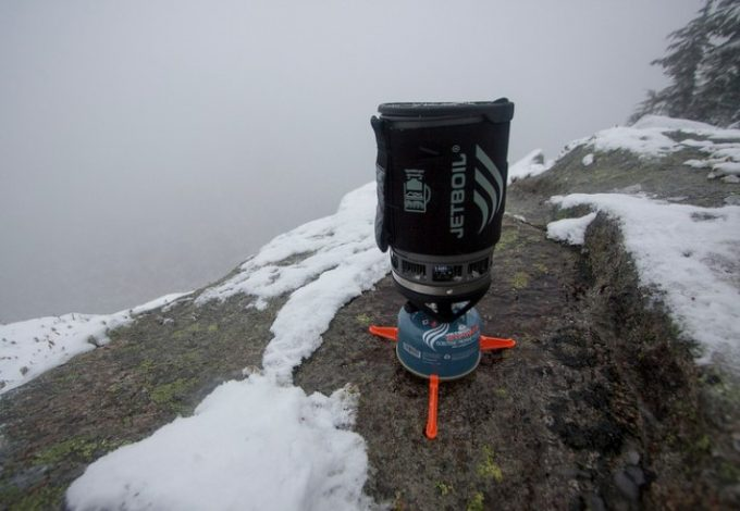 jetboil stove on snowy rock