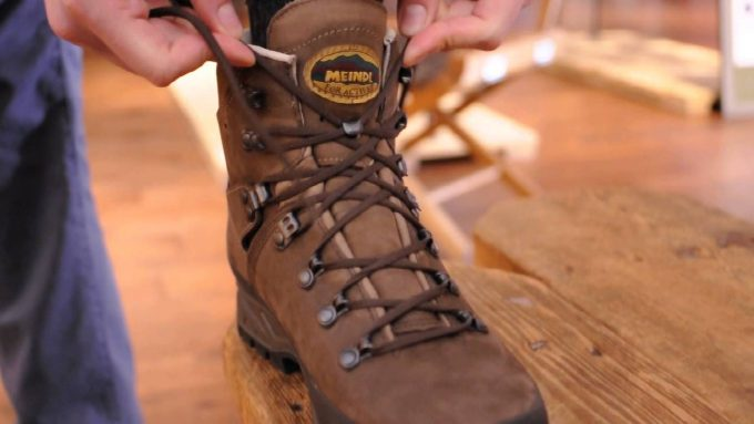 lace inspection on hiking shoes