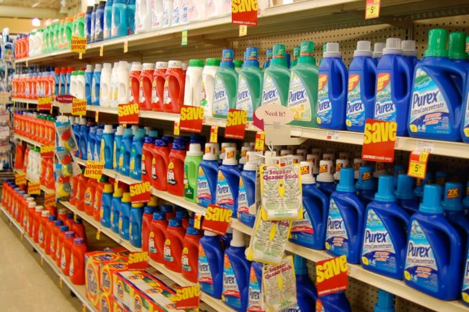 laundry detergents on shelf store