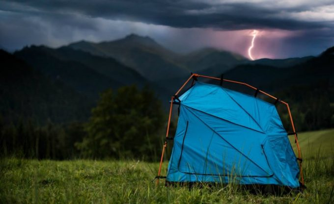 lightning proof tent in a strom