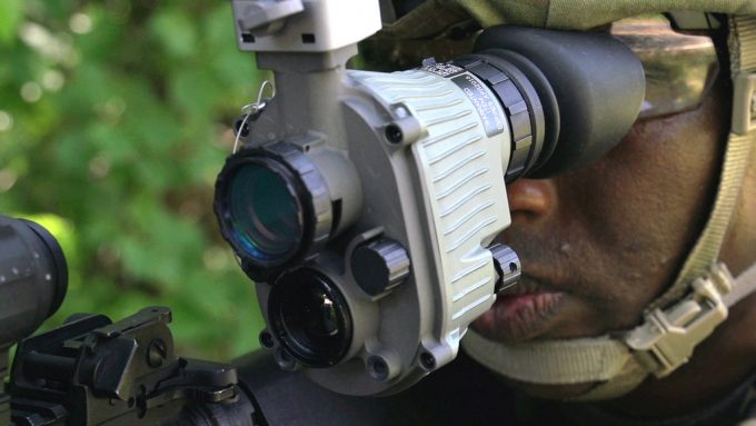 man with night vision infrared goggle