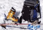 mountaineering winter gear on the snow