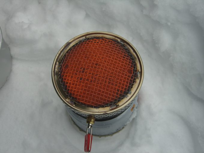 msr reactor stovehead on the snow