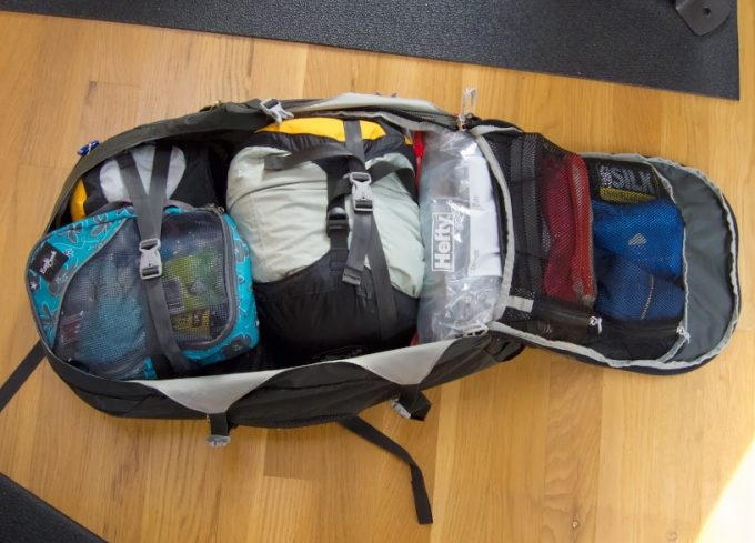 packed backpack