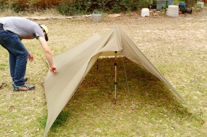tarp tent on even ground