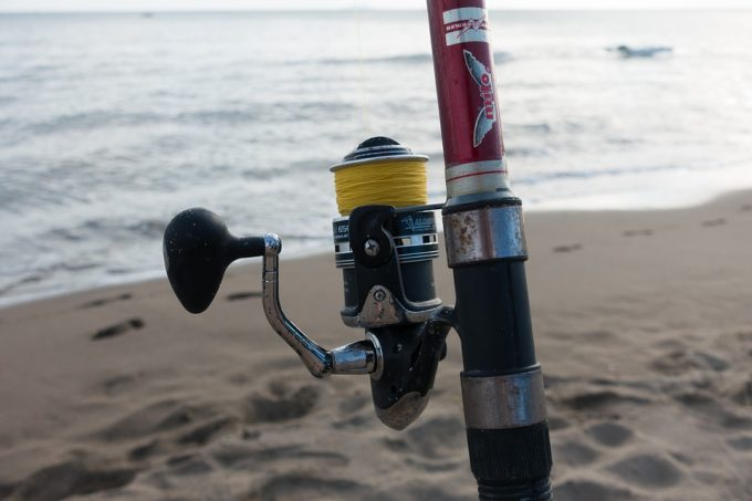 fishing rod on the beach