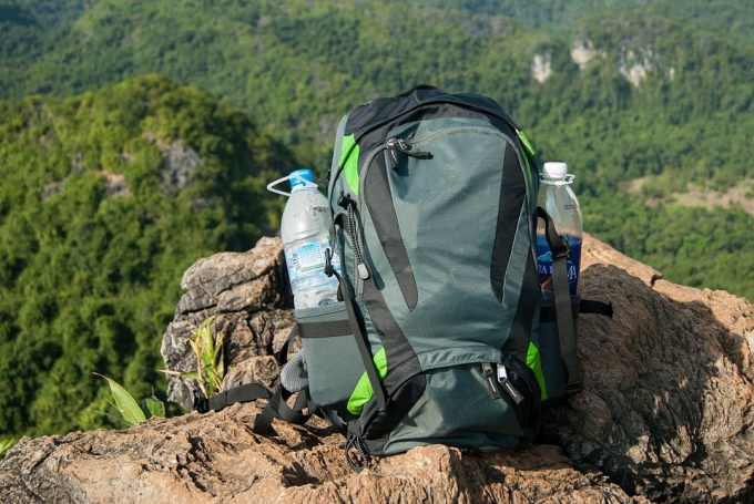 hiking backpack on the mountain