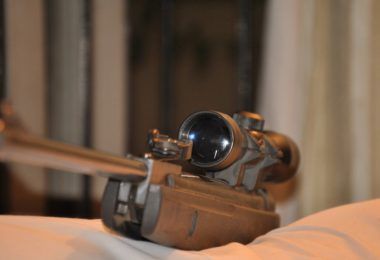pellet gun scope in room