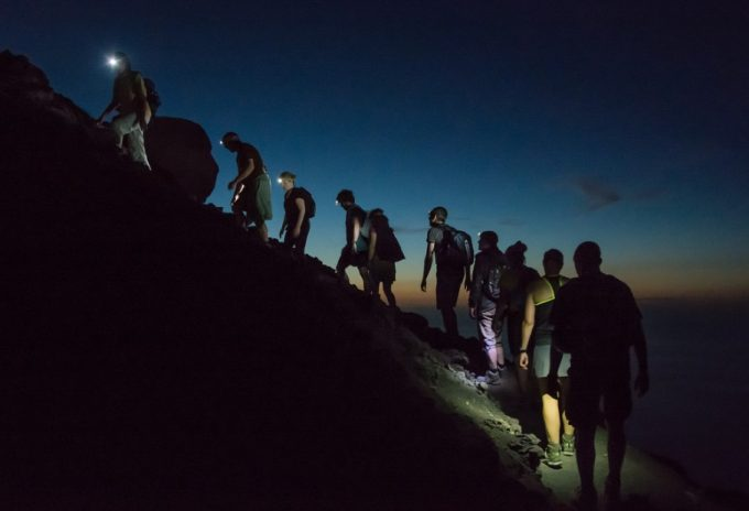 a group of night hikers